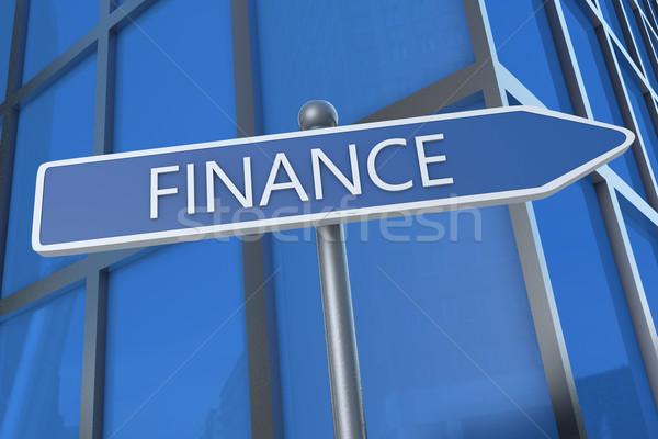 Financiar ilustração placa de rua prédio comercial multidão corporativo Foto stock © Mazirama