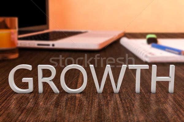 Crescita lettere legno desk computer portatile notebook Foto d'archivio © Mazirama
