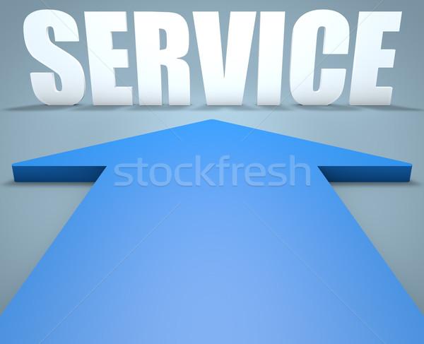 службе 3d визуализации синий стрелка указывая бизнеса Сток-фото © Mazirama