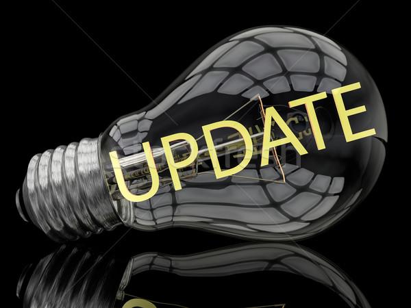 обновление лампочка черный текста 3d визуализации иллюстрация Сток-фото © Mazirama
