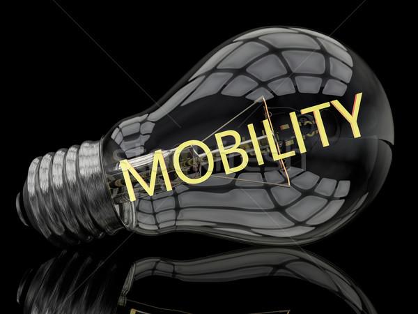 Mobilität Glühbirne schwarz Text 3d render Illustration Stock foto © Mazirama