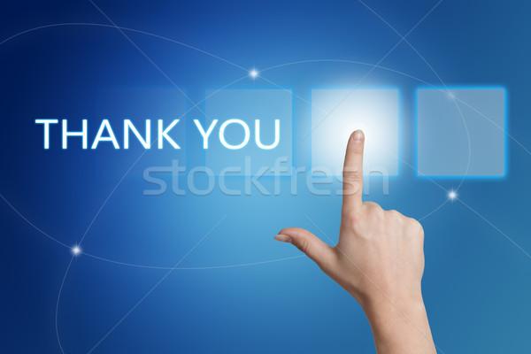 Köszönjük kéz kisajtolás gomb interfész kék Stock fotó © Mazirama