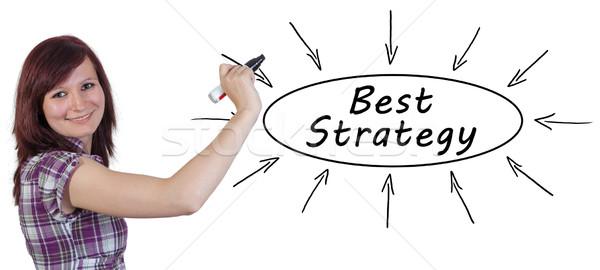 Meilleur stratégie jeunes femme d'affaires dessin informations Photo stock © Mazirama