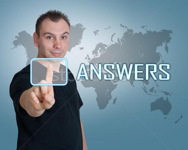 Válaszok fiatalember sajtó gomb interfész kérdés Stock fotó © Mazirama