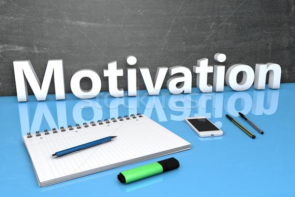 Motivation texte tableau portable stylos téléphone portable Photo stock © Mazirama