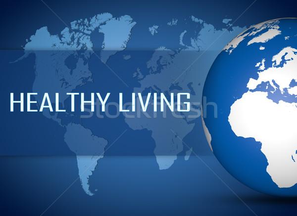 Здоровый образ жизни мира синий Мир карта фитнес спортзал Сток-фото © Mazirama
