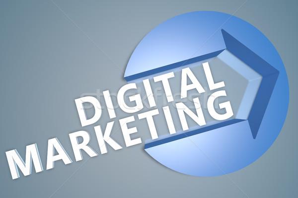 Digitális marketing 3d szöveg render illusztráció nyíl Stock fotó © Mazirama
