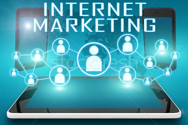 Marketing internetowy tekst ilustracja społecznej ikona Zdjęcia stock © Mazirama