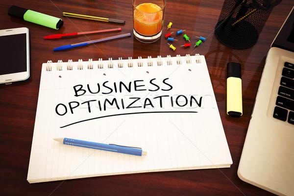 Negocios optimización texto cuaderno escritorio Foto stock © Mazirama