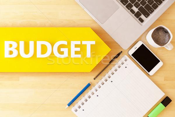 Költségvetés lineáris szöveg nyíl notebook okostelefon Stock fotó © Mazirama