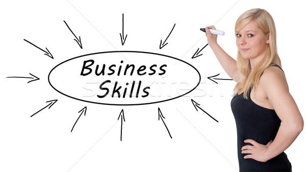 Negócio habilidades jovem empresária desenho informação Foto stock © Mazirama