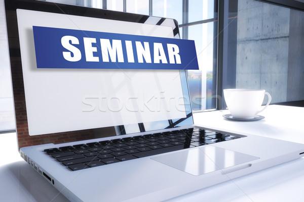 Seminário texto moderno laptop tela escritório Foto stock © Mazirama