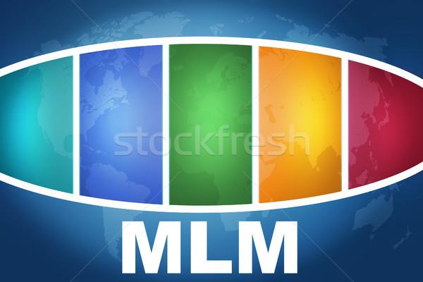 Nível marketing texto ilustração azul colorido Foto stock © Mazirama