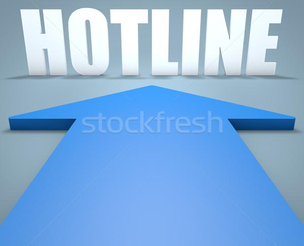горячая линия 3d визуализации синий стрелка указывая телефон Сток-фото © Mazirama