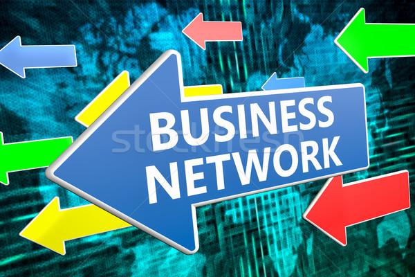Бизнес-сеть текста синий стрелка Flying зеленый Сток-фото © Mazirama