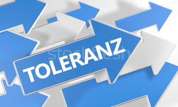 Parola tolleranza rendering 3d blu bianco frecce Foto d'archivio © Mazirama