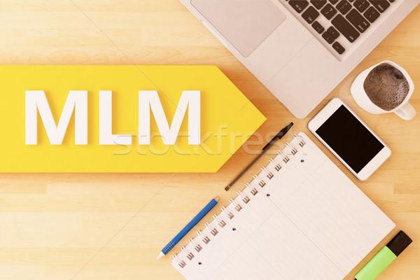 Niveau marketing mlm lineair tekst pijl Stockfoto © Mazirama