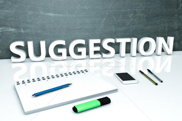 Proposition texte tableau portable stylos téléphone portable Photo stock © Mazirama