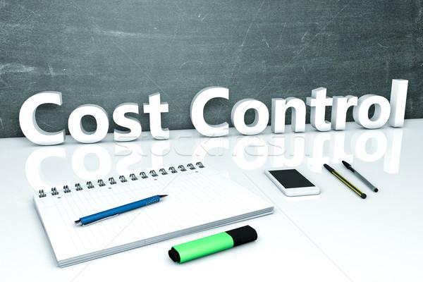 Custo controlar texto quadro-negro caderno canetas Foto stock © Mazirama