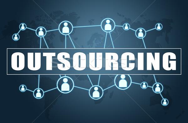 Outsourcing tekst Blauw wereldkaart sociale iconen Stockfoto © Mazirama