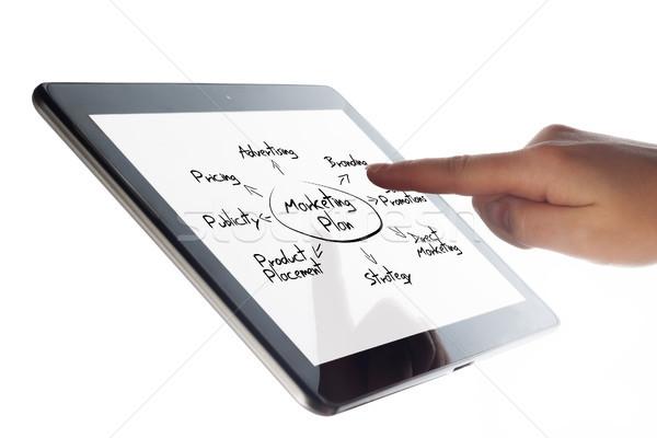 Tabletta marketing terv táblagép diagram kéz Stock fotó © Mazirama