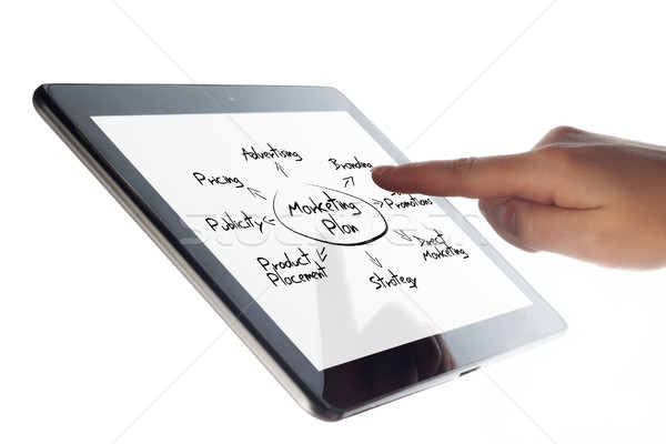 Tablet marketing plan grafiek hand Stockfoto © Mazirama