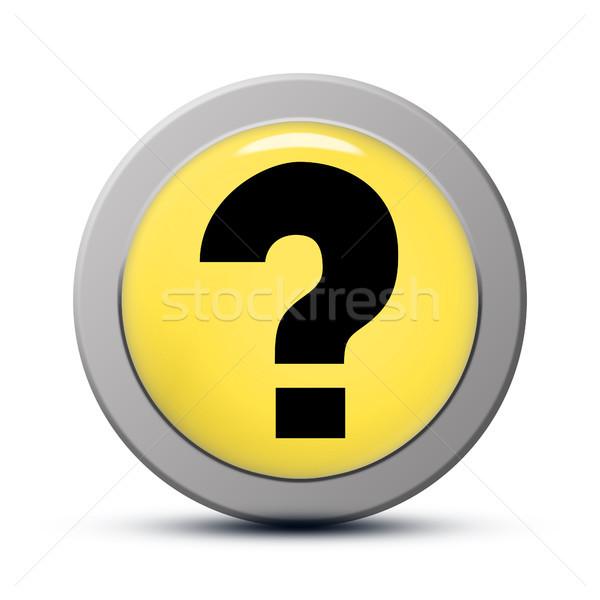 Soru işareti ikon sarı düğme iş soyut Stok fotoğraf © Mazirama