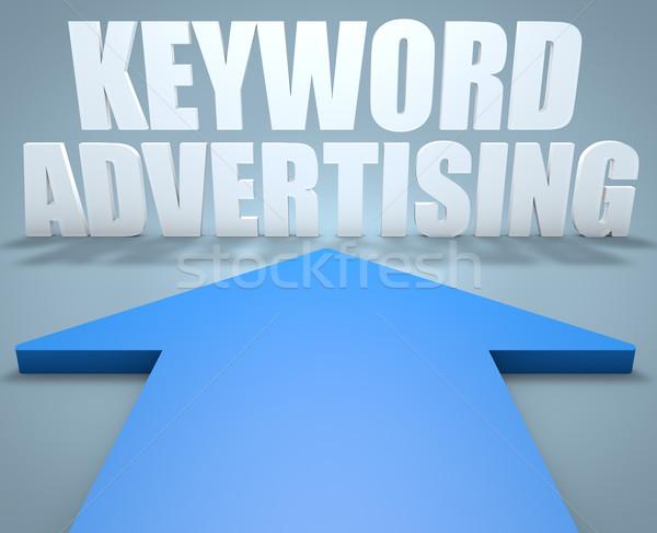 Palabra clave publicidad 3d azul flecha senalando Foto stock © Mazirama