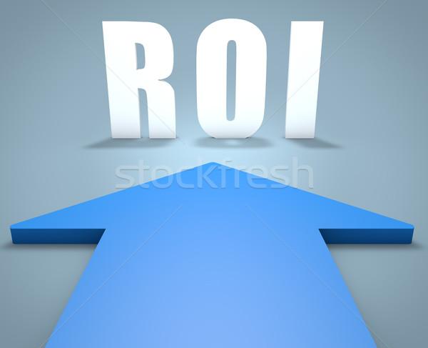Rückkehr Investitionen roi 3d render blau arrow Stock foto © Mazirama
