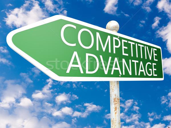 Compétitif avantage signe de rue illustration ciel bleu nuages Photo stock © Mazirama