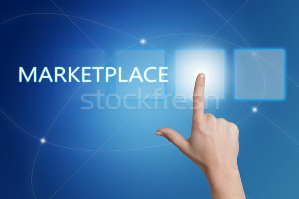 Piactér kéz kisajtolás gomb interfész kék Stock fotó © Mazirama