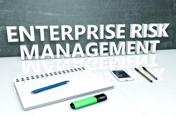 Empresa gestão de risco texto quadro-negro caderno canetas Foto stock © Mazirama