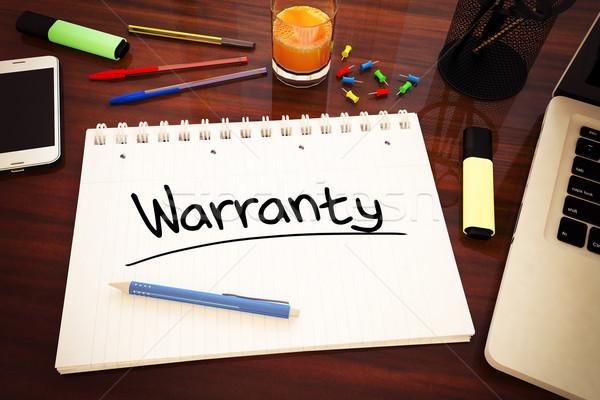 Garancia kézzel írott szöveg notebook asztal 3d render Stock fotó © Mazirama