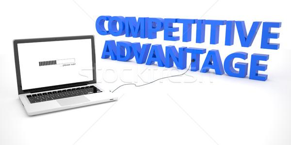 Competitivo ventaja portátil cuaderno ordenador palabra Foto stock © Mazirama