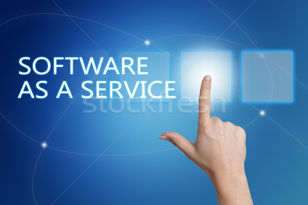 Software-ul serviciu mână buton interfata Imagine de stoc © Mazirama