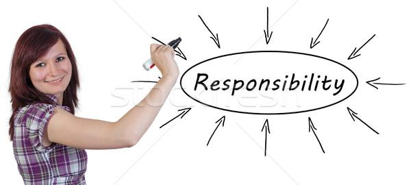 Odpowiedzialność młodych kobieta interesu rysunek informacji Zdjęcia stock © Mazirama