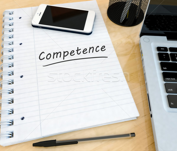 Stock fotó: Kompetencia · kézzel · írott · szöveg · notebook · asztal · laptop