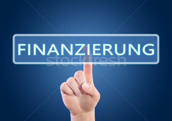 Szöveg kéz kisajtolás szó finanszírozás gomb Stock fotó © Mazirama