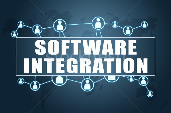 Software integración texto azul mapa del mundo social Foto stock © Mazirama