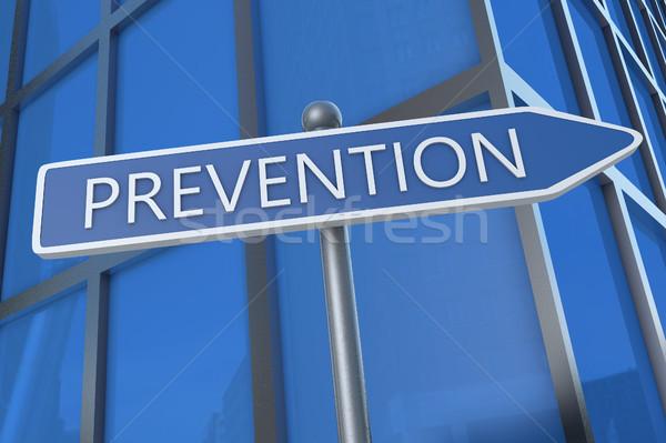 Prevenzione rendering 3d testo illustrazione segnale stradale edificio per uffici Foto d'archivio © Mazirama