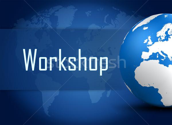 Atelier monde bleu carte du monde réunion travaux Photo stock © Mazirama