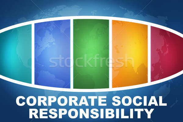 Entreprise sociale responsabilité texte illustration bleu Photo stock © Mazirama