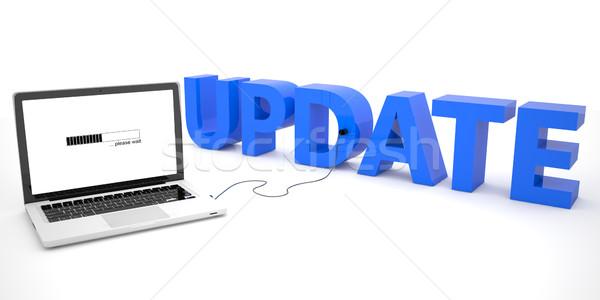 Atualizar computador portátil palavra branco 3d render ilustração Foto stock © Mazirama