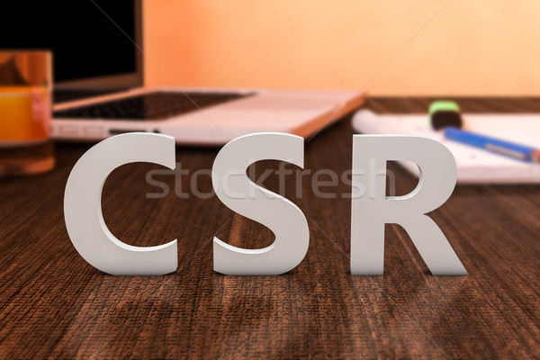 Corporate sozialen Verantwortung Briefe Holz Schreibtisch Stock foto © Mazirama