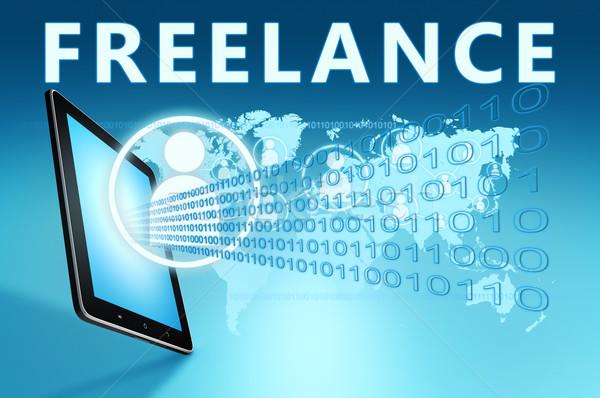 Freelance illustratie Blauw business vrijheid Stockfoto © Mazirama