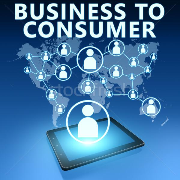 üzlet fogyasztó illusztráció táblagép kék háló Stock fotó © Mazirama