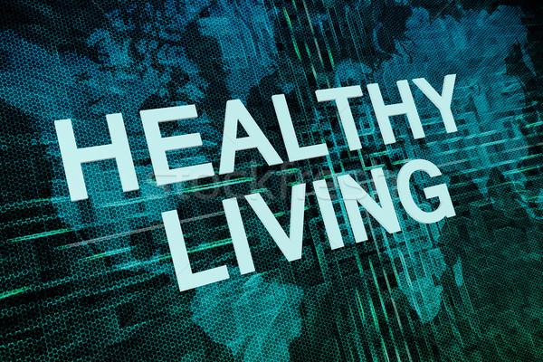 Здоровый образ жизни текста зеленый цифровой Мир карта спортзал Сток-фото © Mazirama