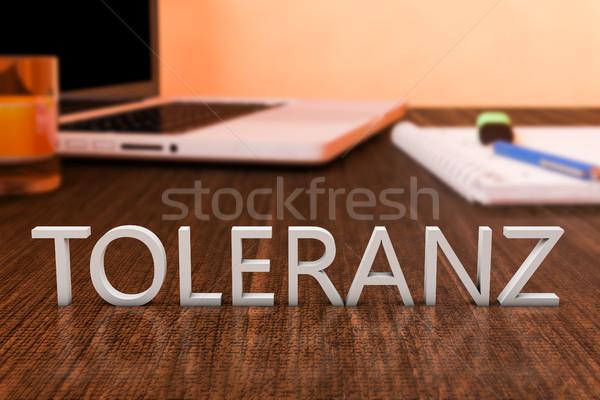 Woord tolerantie brieven houten bureau laptop computer Stockfoto © Mazirama