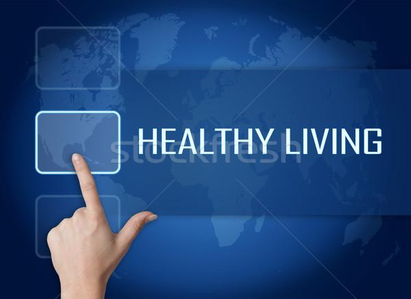 Sağlıklı yaşam arayüz dünya haritası mavi uygunluk spor salonu Stok fotoğraf © Mazirama