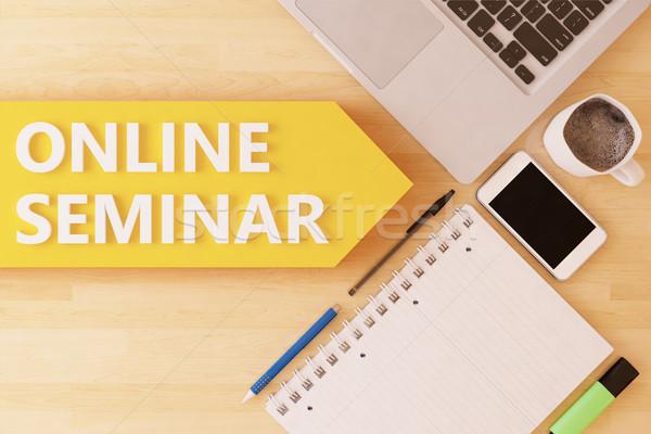 Online seminar lineair tekst pijl notebook Stockfoto © Mazirama